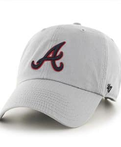 Atlanta Braves 47 Brand Storm Gray Clean Up Adjustable Hat