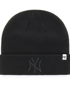 New York Yankees 47 Brand All Black Raised Cuff Knit Hat