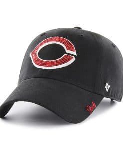 Cincinnati Reds Women's 47 Brand Sparkle Black Clean Up Adjustable Hat