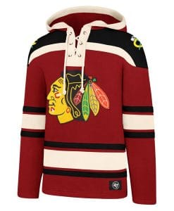Chicago Blackhawks Men's 47 Brand Red Vintage Pullover Jersey Hoodie