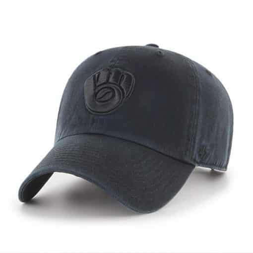 Milwaukee Brewers 47 Brand All Black Clean Up Adjustable Hat