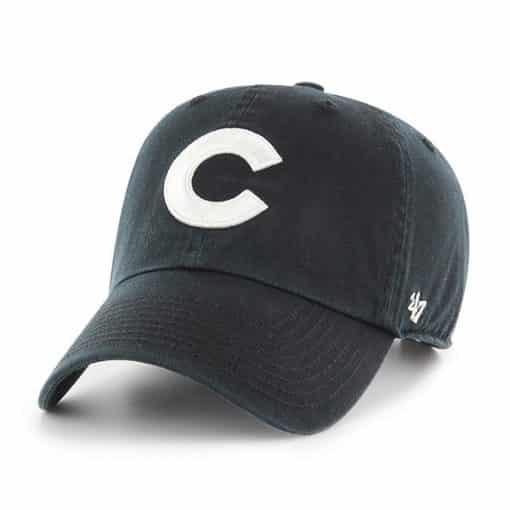 Chicago Cubs 47 Brand Black C Logo Clean Up Adjustable Hat