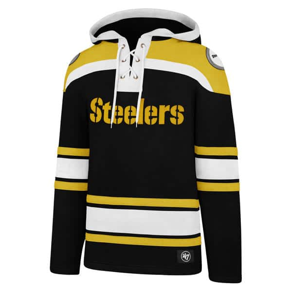 more photos 99298 1f8ab Pittsburgh Steelers Men's 47 Brand Black Pullover Jersey Hoodie