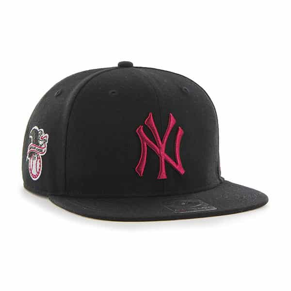 promo code c7b6c 3a8d6 New York Yankees 47 Brand Black Pink Logo Sure Shot Snapback Hat - Detroit  Game Gear
