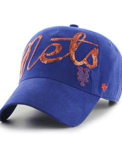 New York Mets Women's 47 Brand Sparkle Blue Clean Up Adjustable Hat