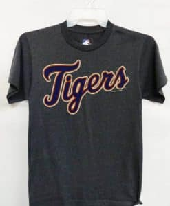 Detroit Tigers Blue Tigers Logo Gray T-Shirt Tee