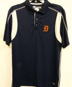 Detroit Tigers Majestic Navy Orange Logo Dri-Fit Polo Shirt