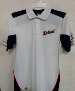 Detroit Tigers Majestic White Navy Polo Shirt