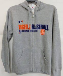 Detroit Tigers Gray Orange Logo Full Zip Up Hoodie