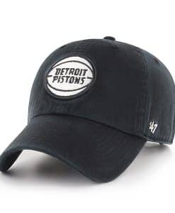 Detroit Pistons 47 Brand Black Clean Up Adjustable Hat