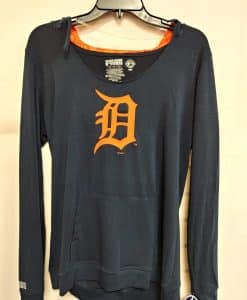 Detroit Tigers Women's Navy Orange Logo Hooded Long Sleeve Tee
