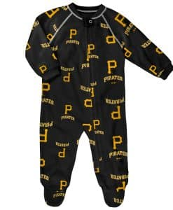 Pittsburgh Pirates Baby Black Raglan Zip Up Sleeper Coverall