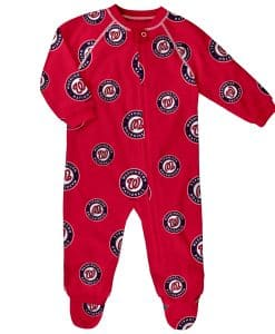 Washington Nationals Baby Red Raglan Zip Up Sleeper Coverall