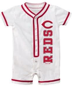 Cincinnati Reds Baby White Button Up Romper Coverall