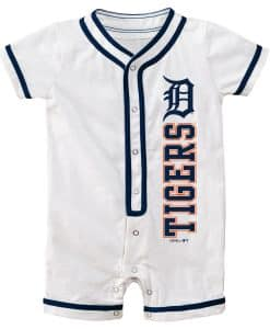 Detroit Tigers Baby White Button Up Romper Coverall