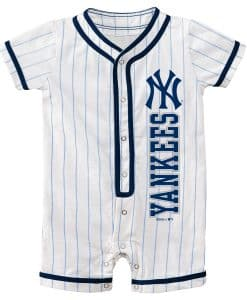 New York Yankees Baby Pinstripe White Button Up Romper Coverall