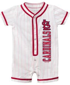 St. Louis Cardinals Baby Pinstripe White Button Up Romper Coverall