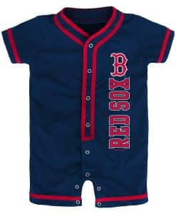 Boston Red Sox Baby Game Ready Navy Button Up Romper Coverall