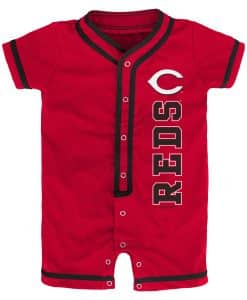 Cincinnati Reds Baby Game Ready Red Button Up Romper Coverall