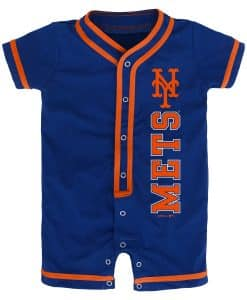 New York Mets Baby Game Ready Blue Button Up Romper Coverall