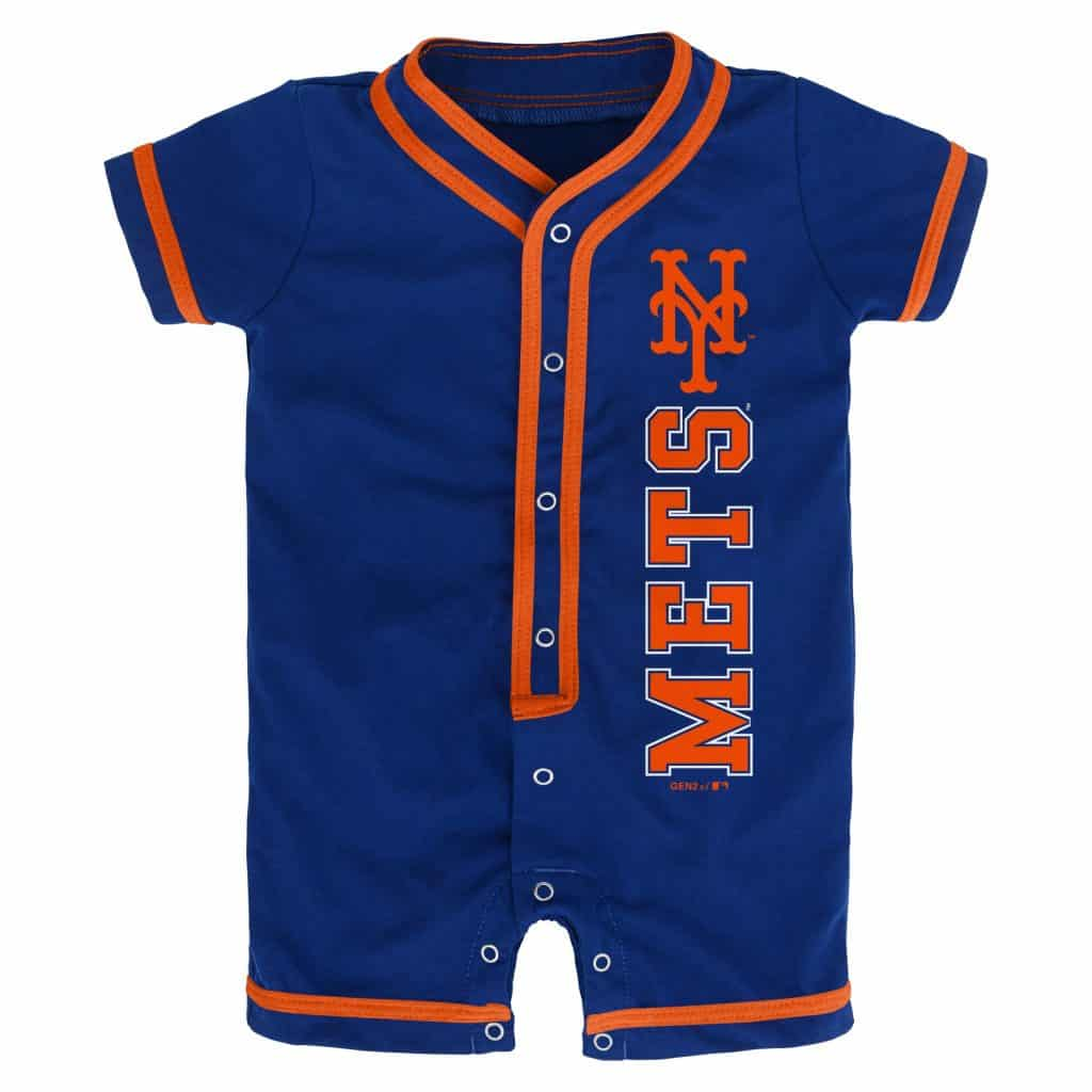 separation shoes 9a962 4fe8f New York Mets Baby Game Ready Blue Button Up Romper Coverall