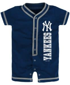 New York Yankees Baby Game Ready Navy Button Up Romper Coverall