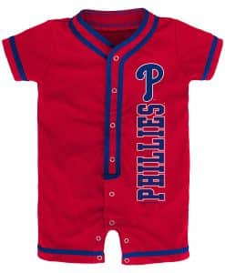 Philadelphia Phillies Baby Game Ready Red Button Up Romper Coverall