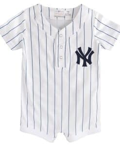 New York Yankees Baby White Navy Pinstripe Button Up Jersey Romper Coverall