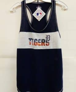 Detroit Tigers Navy White Sequin Tank Tank