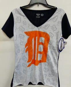 Detroit Tigers Women's Navy White Logo Tee