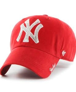 New York Yankees Women's 47 Brand Sparkle Red Clean Up Adjustable Hat