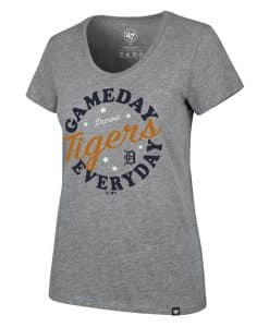 Detroit Tigers Women's 47 Brand Gray Gameday Scoop T-Shirt Tee