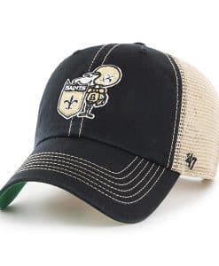 New Orleans Saints 47 Brand Classic Trawler Black Clean Up Adjustable Hat