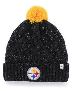 Pittsburgh Steelers 47 Brand Black Fiona Cuff Knit Hat