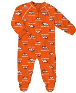 Denver Broncos Baby Orange Raglan Zip Up Sleeper Coverall