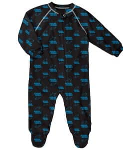 Carolina Panthers Baby Black Raglan Zip Up Sleeper Coverall