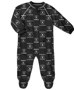 Oakland Raiders Baby Black Raglan Zip Up Sleeper Coverall