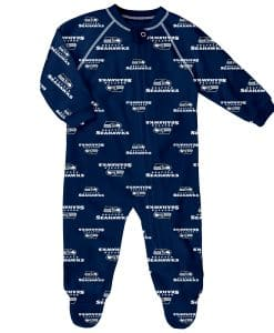 Seattle Seahawks Baby Navy Raglan Zip Up Sleeper Coverall