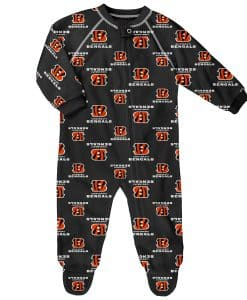 Cincinnati Bengals Baby Black Raglan Zip Up Sleeper Coverall