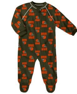 Cleveland Browns Baby Brown Raglan Zip Up Sleeper Coverall