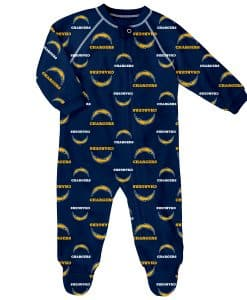 Los Angeles Chargers Baby Navy Raglan Zip Up Sleeper Coverall