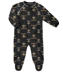 New Orleans Saints Baby Black Raglan Zip Up Sleeper Coverall