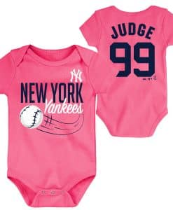 New York Yankees Aaron Judge Baby Girls Pink Onesie Creeper