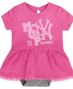 New York Yankees Baby Girls Pink MVP Princess 3 Piece Creeper Set