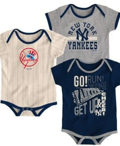 New York Yankees Baby Cooperstown Navy Gray Pinstriped 3-Pack Creeper Set