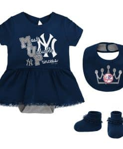 New York Yankees Baby Girls Navy MVP Princess 3 Piece Creeper Set