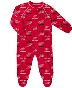 Detroit Red Wings Baby Red Raglan Zip Up Sleeper Coverall