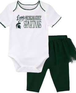 Michigan State Spartans Baby Girls Green White Creeper & Tutu Legging Set