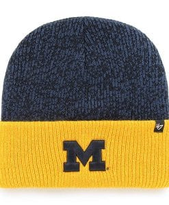 Michigan Wolverines 47 Brand Navy Two Tone Brain Freeze Cuff Knit Hat