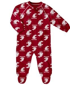 Washington State Cougars Baby Red Raglan Zip Up Sleeper Coverall